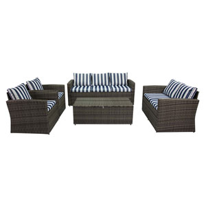 Rio Grey and Blue White Stripe 5 Piece Outdoor Set