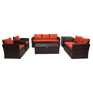 Rio Dark Brown and Orange 6 Piece Outdoor Wicker Set with Storage