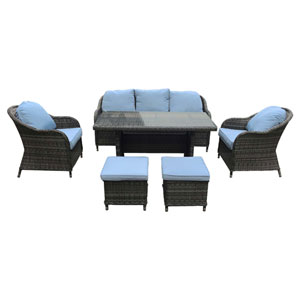 Atrani Grey and Light Blue 6 Piece Outdoor Set with Dining Table