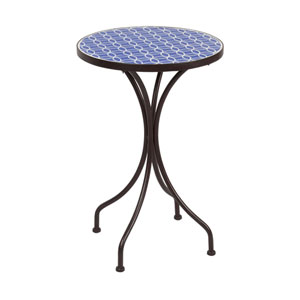 Blue and White 14-Inch Round Mosaic Table