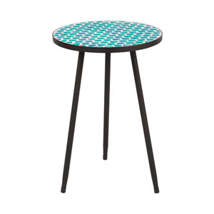 Green 14-Inch Round Mosaic Table