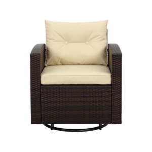 Dark Brown and Beige Outdoor Wicker Swivel Armchair