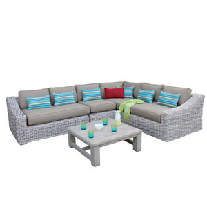 Grey and Beige 5 Piece Outdoor Rattan Sectional Set