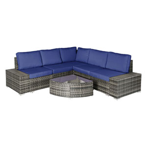 Grey and Navy 6 Piece Outdoor Wicker Sectional Set
