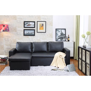 Georgetown Black Bi-Cast Leather 2-Piece Sectional Sofa Bed with Storage