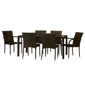 Toria Dark Brown 7-Piece All-Weather Wicker Dinning Set
