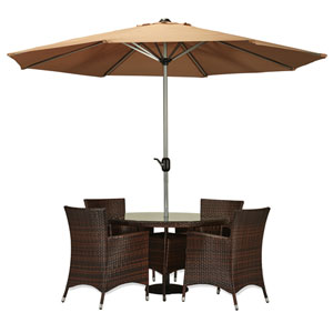Gita Dark Brown 6-Piece All-Weather Wicker Dinning Set