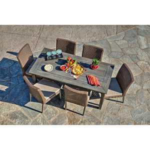 Winchester 7-Piece Antique Grey Hard Wood/Grey All-Weather Wicker Patio Dining Set with Beige Cushions