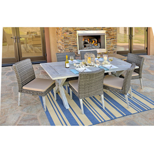 Lindmere 7-Piece Antique Grey Hard Wood/Grey All-Weather Wicker Patio Dining Set with Beige Cushions