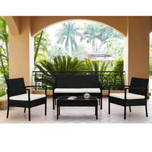 Teaset Black 4-Piece All-Weather Wicker Patio Seating Set with White Cushions