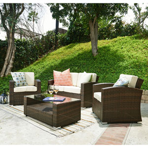 Bahia Tan 4 Piece Outdoor Wicker Conversation Set