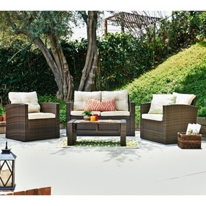 Roatan Tan 4-Piece Outdoor Wicker Conversation Set