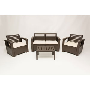 Nevada 4 Piece Conversation Set, Brown