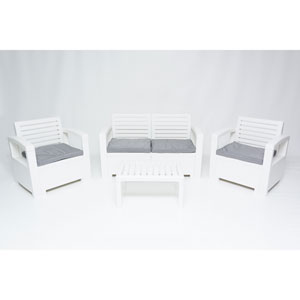 Nevada 4 Piece Conversation Set, White
