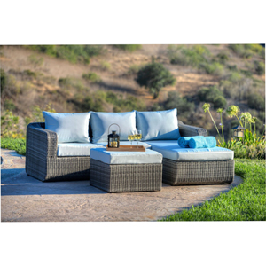 Luies 3-Piece All-Weather Wicker Patio Conversation Set, Gray