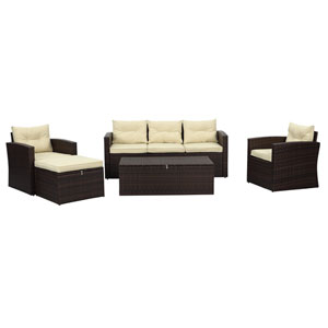 Rio-5 Piece 5 Seat Dark Brown All Weather Wicker Conversation Set with Storage, Ottoman and  Tan Color Cushions