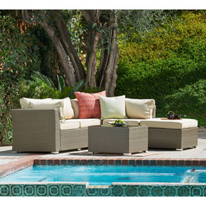 Jicaro Natural Rustic Light Brown 5 Piece Outdoor Wicker Sectional Sofa Set