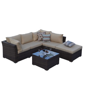 Jicaro Rustic Dark Brown 5 Piece Outdoor Wicker Sectional Sofa Set
