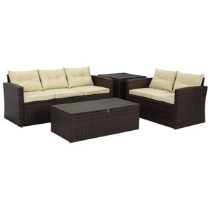 Rio-4 Piece Dark Brown All Weather Wicker Conversation Set with Storage and Tan Color Cushions