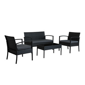 Teaset Four-Piece Patio Conversation Set with Dark Grey Cushions