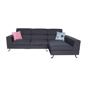 Kileen Dark Grey Linen 2-Piece Sectional Sofa with Two Throw Pillows