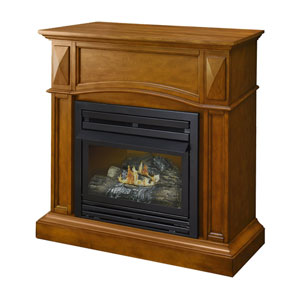 Heritage Compact Vent-Free Dual Fuel Gas Fireplace  w/Wall Corner Combo