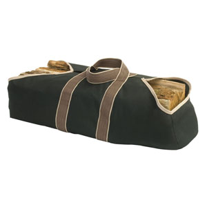 Pleasant Hearth Black 36-Inch x 18-Inch Firewood Canvas Bag