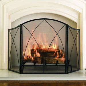 Pleasant Hearth Black Powder Coat Arched 3-Panel Fireplace Screen