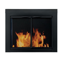 Pleasant Hearth Black Powder-Coated Large Alpine Cabinet Style Fireplace Screen and Glass Doors