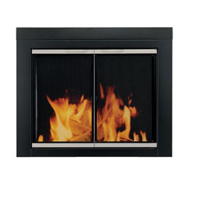 Pleasant Hearth Black and Sunlight Nickel Small Alsip Cabinet Style Fireplace Screen and Glass Doors