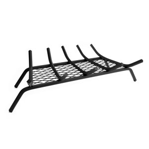 Pleasant Hearth Black 27-Inch Steel Fireplace Grate with ½-Inch Square Bars and Ember Retainer