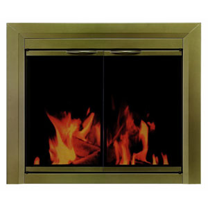 Pleasant Hearth Antique Brass Small Cahill Cabinet Style Fireplace Screen and Smoked Glass Doors