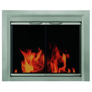 Pleasant Hearth Sunlight Nickel Small Colby Cabinet Style Fireplace Screen and Smoked Glass Doors