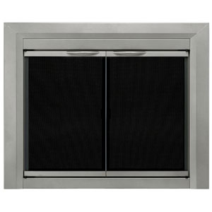 Pleasant Hearth Sunlight Nickel Large Colby Cabinet Style Fireplace Screen and Smoked Glass Doors