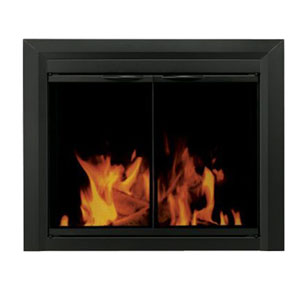 Pleasant Hearth Black Powder-Coated Small Carlisle Cabinet Style Fireplace Screen and Smoked Glass Doors