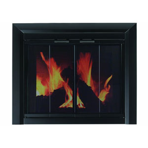 Pleasant Hearth Black Powder-Coated Medium Clairmont Fireplace Screen and Bi-Fold Track-Free Smoked Glass Doors