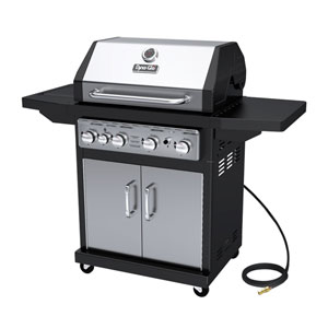 Dyna-Glo Stainless Steel and Black 60,000 BTU 4-Burner Natural Gas Grill with Cast Iron Grates and Side Burner