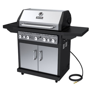 Dyna-Glo Stainless Steel and Black 79,000 BTU 5-Burner Natural Gas Grill with Side Burner and Rotisserie Burner