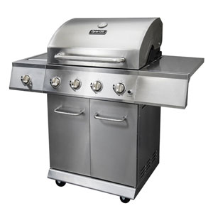Dyna-Glo Burnished Bronze 4-Burner 52,000 BTU Propane Gas Grill with Side Burner and Full Storage Cart