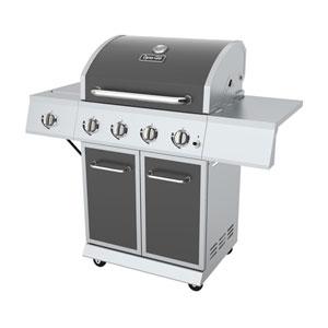 Dyna-Glo Gun Metal Grey Finish 4-Burner 52,000 BTU Propane Gas Grill with Side Burner and Full Storage Cart