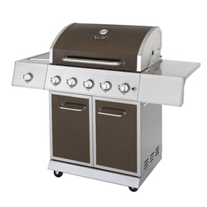 Dyna-Glo Burnished Bronze 5-Burner 62,000-BTU Gas BBQ Grill with Side Burner, 708-Square Inches