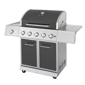 Dyna-Glo Gun Metal Grey Finish 5-Burner 60,000 BTU Propane Gas Grill with Side Burner and Full Storage Cart