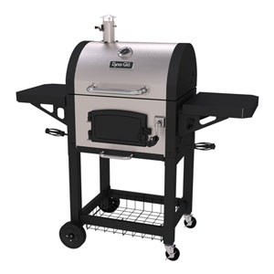 Dyna-Glo Stainless Steel Heavy-Duty Charcoal Grill with Cast Iron Grates and Charcoal Door, 686-Square Inches, Stainless