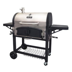 Dyna-Glo Stainless Steel Dual Chamber Charcoal BBQ Grill with Adjustable Charcoal Trays and Easy Access Charcoal Doors