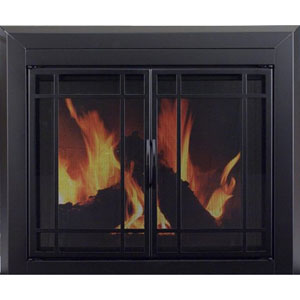 Pleasant Hearth Black Powder-Coated Small Easton Prairie Cabinet Style Fireplace Screen and 9-Pane Smoked Glass Doors