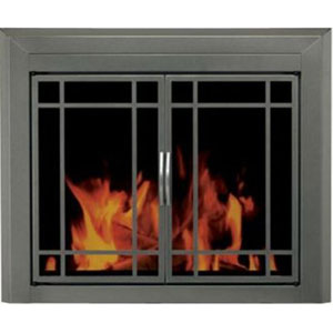 Pleasant Hearth Gunmetal Powder-Coated Small Edinburg Prairie Cabinet Style Fireplace Screen and 9-Pane Smoked Glass Doors