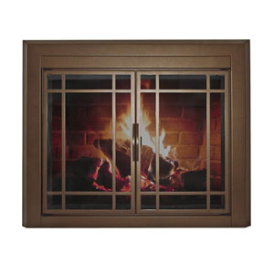 Pleasant Hearth Burnished Bronze Medium Enfield Prairie Cabinet Style Fireplace Screen and 9-Pane Smoked Glass Doors