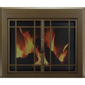 Pleasant Hearth Burnished Bronze Large Enfield Prairie Cabinet Style Fireplace Screen and 9-Pane Smoked Glass Doors