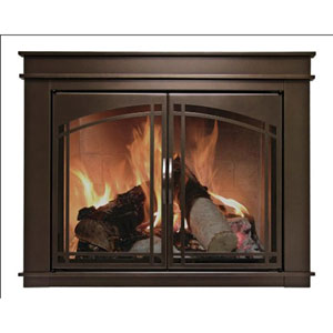 Pleasant Hearth Oil Rubbed Bronze Medium Fenwick Cabinet Style Fireplace Screen and Arch Prairie Smoked Glass Doors