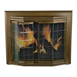Pleasant Hearth Antique Brass Small Grandior Bay Fireplace Screen and Bi-Fold Track-Free Elegant Clear Glass Doors